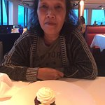 Complimentary cupcake dessert.