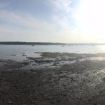 Panoramic view from the waterfront chairs at low tide
