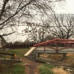 Crossing bridge over tow path.