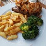 Rump steak and crispy fried onions