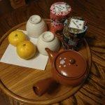 Mandarinas y tés, cortesía del hotel