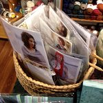 lots of complete kits of patterns and yarn, plus samples in the store