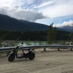 skagway scooter - stopped to take in the view