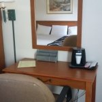 Desk with chair and coffeemaker