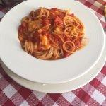 Spagetti / pasta with sea food / Cream brule / tiramisu / Bear / limoncello from chef