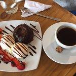 Cafe Americana and chocolate volcano dessert