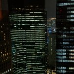 city evening view from room