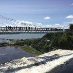 the suspension bridge over the falls