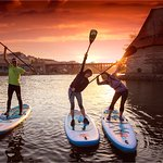 Sunset paddle boarding session in Maribor