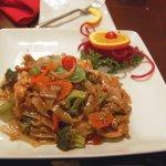 Thai drunken noodles dish