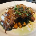 Potato Crusted Cod with kale and sweet potato