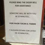 Sign at front desk...