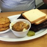 Dry Rub Ribs, potatoes, fried green tomatoes