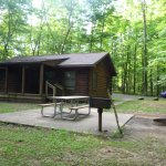 Front of Cabin 15 with picnic table, barbecue and fire pit