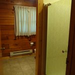 Bathroom showing shower door