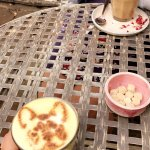 Liquid gold latte (with a little bulldog on it!) and rose latte