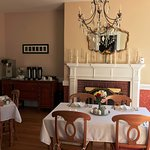 Dining room with working fireplace and plenty of Rise-Up Coffee and selection of Tea's.