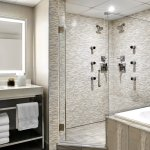 Our Presidential Suite bathroom offers a dual-head shower and a spa-like bathtub for total comfo