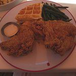 Fried chicken and waffles w/ mac and cheese and green beans