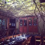 vine-covered east patio, perfect for happy hour!