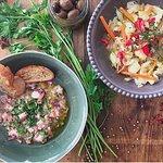 Octopus salad VS Marinated codfish