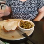 Chicken fried steak with bacon sauteed green beans