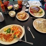 Harvest Omelette, Potato Pancake, Biscuits and Gravy