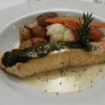 Fish of the Day special - Salmon w/pesto - deLISH!