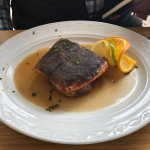 Salmon. May look overcooked, but it´s the skin