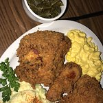 Fried chicken, mac and cheese, potato salad, collards.
