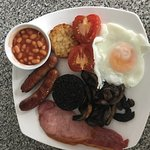 Full English breakfast with fried or scrambled eggs