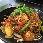 Fried Kway Teow, a very popular fried noodle option at Dumpling Express