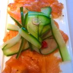 Juniper, rosemary and gin home cured gravadlax, cucumber, radish and sweet pepper salad