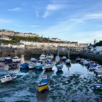 The view from Porthleven harbour. Amelie's is on the right.