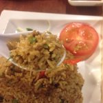 spicy fried rice with minced pork and basil leaves