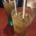 lunch set with drinks: iced coffee, iced longan drink
