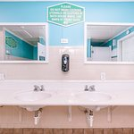 You won't find any cleaner bathhouses than ours. We clean them twice daily and have plenty of AC