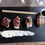 Entrée menu randonneur : « Sushi alsaciens » par 4…charcuterie sursalde de choucroute