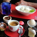 my dessert of 5 little delights and coffe