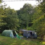spacious woodland pitch at Manzac Ferme