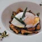 Fresh mushrooms baked in pumpkin oil with poached egg and pumpkin seeds.