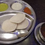 Idli with soup to the right