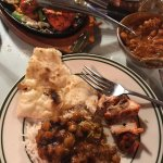 chana masala with basmati rice, naan bread and chicken tikka from Tandoor Palace