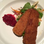 Deep fried Brie with Cranberry and Apple Compote