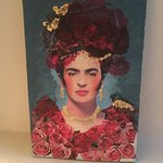 Love my Frida Kahlo Icon made today with paint, decoupage and gilding at Coucou Limoux