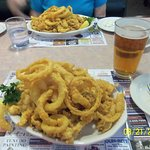 Delicious Heap of Fried Clams & Onion Rings