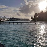 View of the Water villas at sunset
