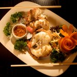 Grilled prawns with spicy dip