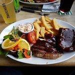 Rump steak and ribs combo