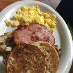 All American breakfast, Viva Carnitas Scramble and Razz Coconut pancake. Yummy!!!